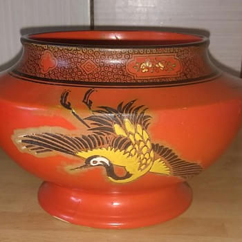 Shelley Bowl pattern number 8590, 815 Made in England, Storks on scarlet background, black edged rim with raised areas of folia - China and Dinnerware