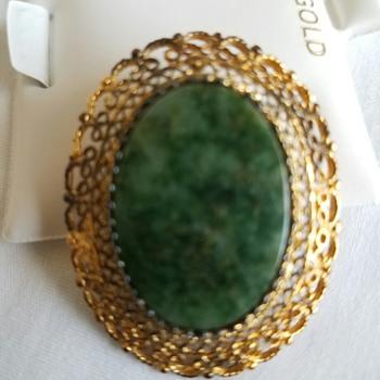 1950's Vintage Nephrite Jade brooch gold vermeil over sterling: Maker: Karen Lynne