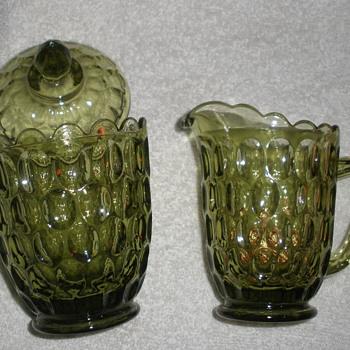 Green sugar and creamer  - Glassware