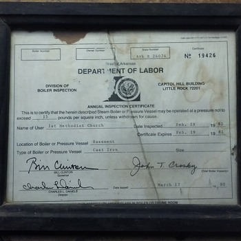 "early 1980's Arkansas boiler inspection certificate, Bill Clinton ""signature"""