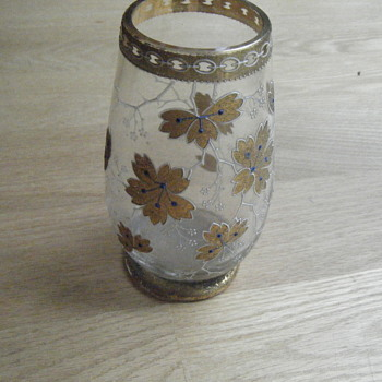 Small Glass Vase Gold White Moriage Enamel Floral Delicate Design