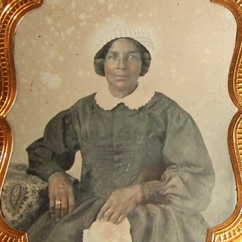 Early ambrotype of an African American woman - Advertising