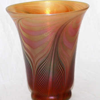 Quezal Pulled-Feather Shade-Vase, HUGE!