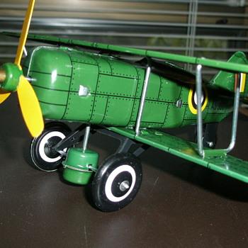 Toy wind-up Bi-Plane and Zeplin