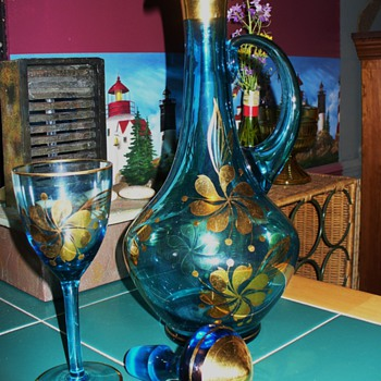 Aqua Bohemian Glass Decanter and Stem Glass Set - Glassware