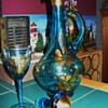 Aqua Bohemian Glass Decanter and Stem Glass Set