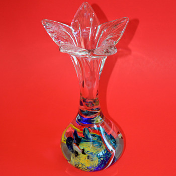 Art Glass Flower Bud Vase with Aquarium Scene at the Base - Art Glass
