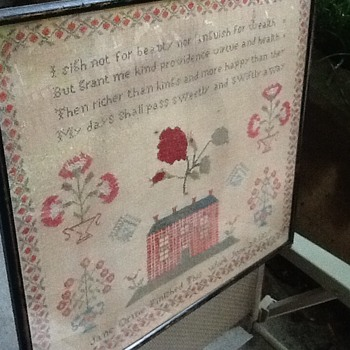 A 1839 needle point art with poetry - Folk Art