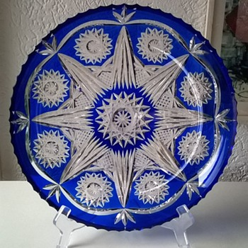 Large Bohemian/Czech Cobalt Blue Crystal Plate, Thrift Shop Find 3,50 Euro. - Art Glass