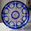 Large Bohemian/Czech Cobalt Blue Crystal Plate, Thrift Shop Find 3,50 Euro.