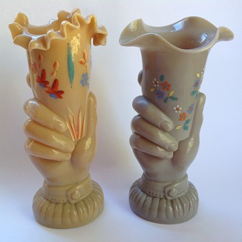 Victorian glass hand vases with painted decoration - Art Glass