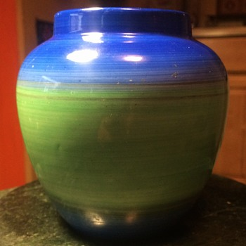 Shelley Blue and Green Drip Ware Art Deco Vase - China and Dinnerware