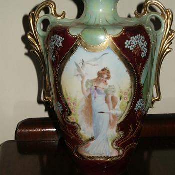 E. S. Vase - Woman w/Doves (Peace) + Woman w/Peacock (Plenty) - China and Dinnerware