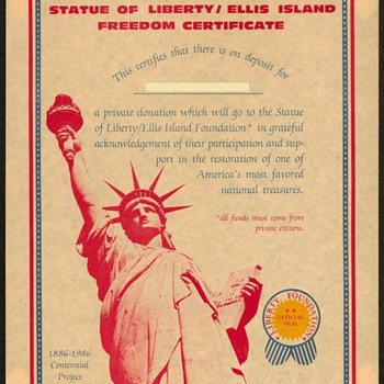 1986 - Statue of Liberty Restoration Certificate - Paper
