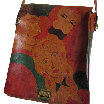 Early 1970s Elyse Stone Painted Leather Bag - Accessories