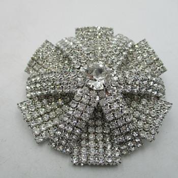Beautiful Pave Rhinestone Domed Brooch - Costume Jewelry
