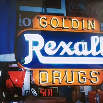 Rexall 2- sided Porcelain Neon Sign - Signs