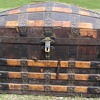 1880's Ornate Romadka Brothers  Leather  Barrel Stave Trunk