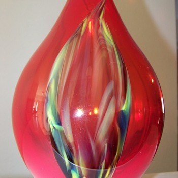 Red Hand Blown Vase/ Pulled Feather Design - Art Glass