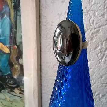 Big Hematite & Sterling Adjustable Ring Thrift Shop Find 95 Cents - Fine Jewelry