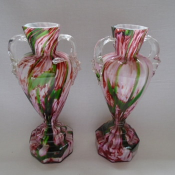 Bohemian Welz Octagonal Trophy Vases - Art Glass