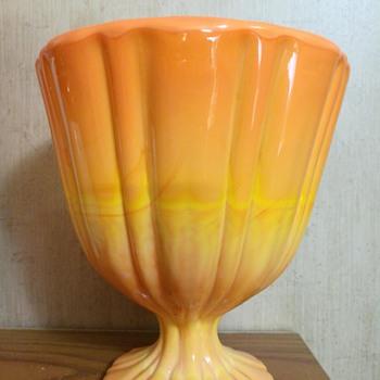 L.E. Smith Bittersweet orange slag glass candy dish, missing lid