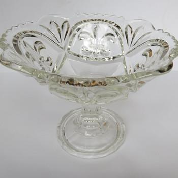 pressed Glass Fleur de Lis Compot - Bonbon Dish