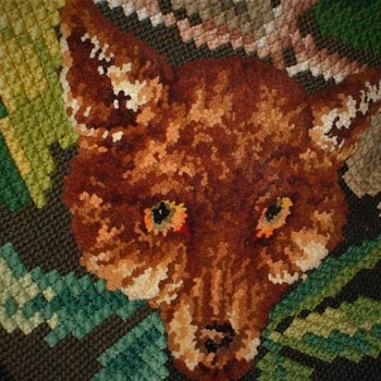 Hooked Rug 3-D Fox Heads On Each Corner - Rugs and Textiles