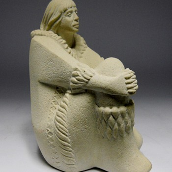 Mar-Bell Art, Belgium, Sand Stone Sculpture, Eskimo, Mid to Late 70s - Figurines