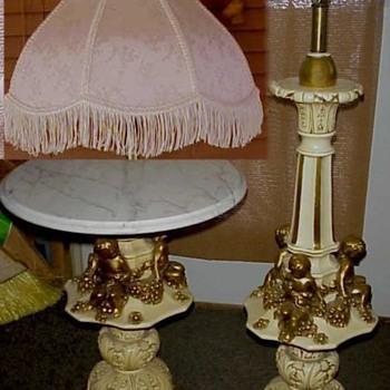 Rare Sergio Fuggiti Set Cherubs Carrara Marble Stand Table Floor Lamp Italian Gold 60s - Lamps