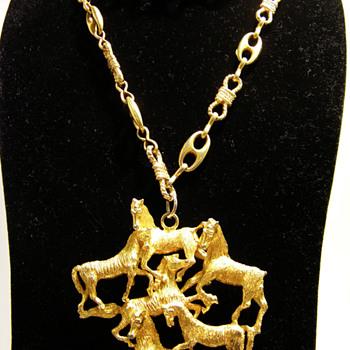 Vintage Les Bernard Inc. Six Horses Pendant Necklace