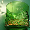 Flash Glass Green and Gold Hershey Souvenir Cup
