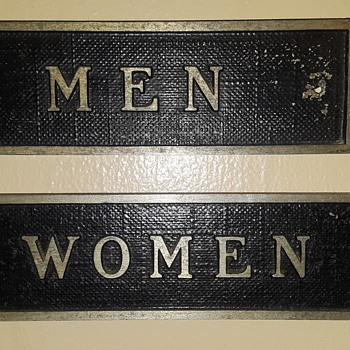 'smalls on the wall #2' -- pair of aluminum restroom door plaques - Signs
