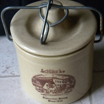 Vintage Win Schuler's Bar Scheeze Crock - China and Dinnerware
