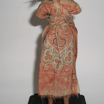 Antique Folk Art Wooden Hand Carved Doll - Folk Art