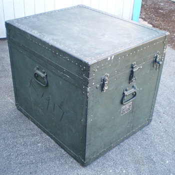 "Vintage Military Surplus ""Foot Locker"" Type Record Case - Records"