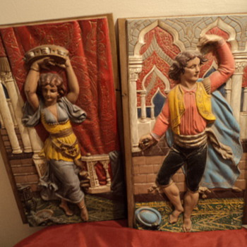 Gypsy male and female cast iron wall hangings - Folk Art