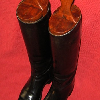 Vintage Equestrian Riding Boots With Wooden Boot Lasts - Shoes