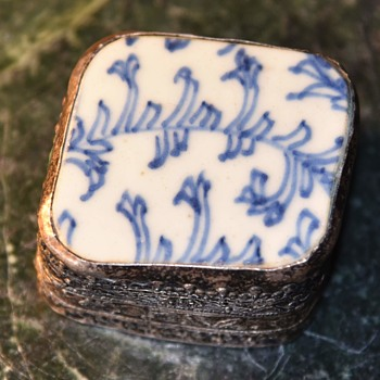 Pillbox Made with a Pottery Fragment Cover - Asian