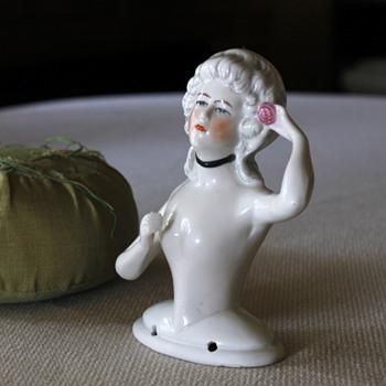 German Porcelain Half Doll / Pin Cushion Doll