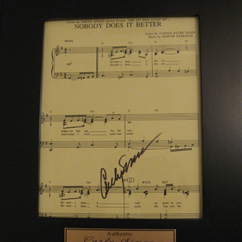Carly Simon . . . Autographed Sheet Music - Music Memorabilia