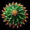 Massive Sherman Brooch, Green And Topaz, Japanned, Signed Pinwheel Design.