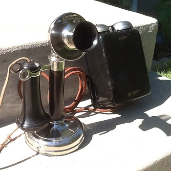1908 Kellogg Candlestick phone with 1908 Bell Box