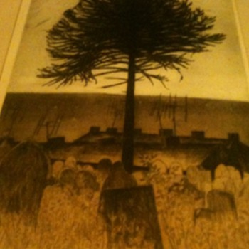 Unusual print of a tree in a graveyard by George Chapman - Posters and Prints