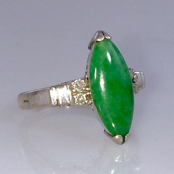 Art Deco Green Imperial Jadeite  &  Diamond 14k Ring  - Art Deco