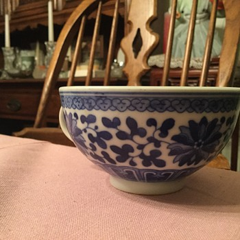 Blue China plate and cup