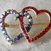 Lisner Double Heart Rhinestone Pin,Red and Aurora Rhinestones