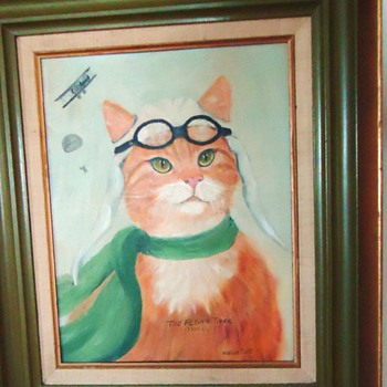 "1977 Oil Painting, Vintage Morris Worlds ""Most Finicky Cat"""