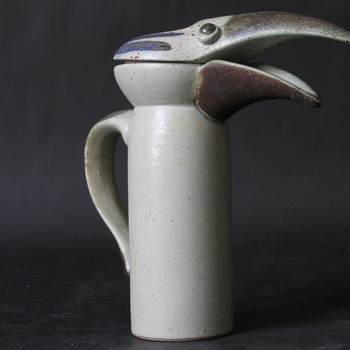 Sgrafo Modern --- Bird Jug ---  by Peter Mueller - Pottery