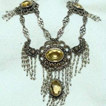 Victorian Citrine and Seed Pearl Festoon Necklace - Fine Jewelry